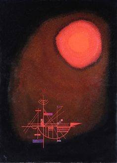 Red Sun and Ship, 1925 - Wassily Kandinsky Wassily Kandinsky Obras, Kandinsky Art, Van Gogh Art, Picasso Paintings, Willem De Kooning, Red Sun, Contemporary Abstract Art, Art Moderne, Henri Matisse