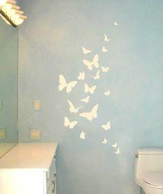 Butterflies  Something like this - bathroom wall