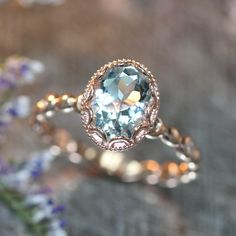 14k Rose Gold Floral Aquamarine Engagement Ring in Pebble Diamond Wedding Band 9x7mm Oval Aquamarine Ring (Bridal Wedding Set Available) von LaMoreDesign auf Etsy https://www.etsy.com/de/listing/232161610/14k-rose-gold-floral-aquamarine