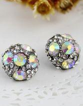 White Crystal Silver Hemisphere Stud Earrings $7.06