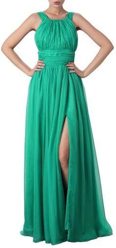 Beautifly Women's Halter High-Slit Lux Chiffon Maxi Dress