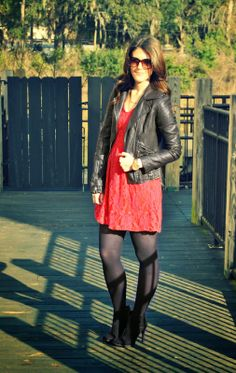 I have been loving this leather jacket lately. Anyways, so this is the third option for Valentine's outfits this week! Red and lace are . Pantyhose Fashion, Black Pantyhose, Black Tights, Valentines Outfits, Great Legs, Sexy Skirt, Looking For Women, Leather Skirt, Hot Girls