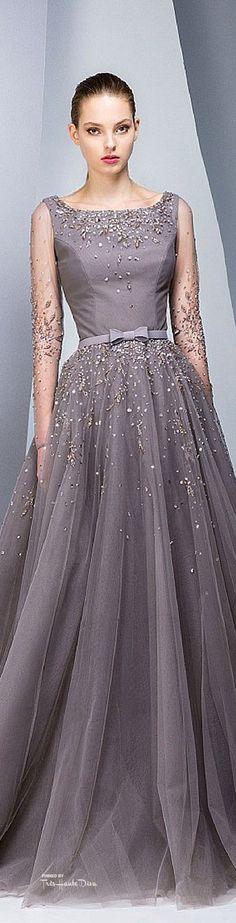 Georges Hobeika ~ Sheer Sleeve w Full Skirt Gown, Iced Mauve w embellishments 2015