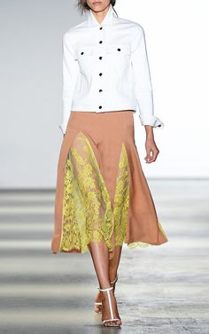 Pleated Skirt With Vine Lace Insets by Wes Gordon for Preorder on Moda Operandi
