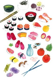 Sushi watercolor. Would love this hanging in my kitchen.