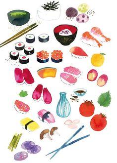 #sushi #watercolor by Miss Carpricho via decor8 blog #illustration
