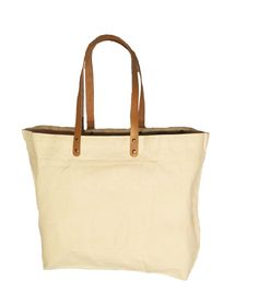 10 oz. Cotton Bag with leather handles - Holiday Shopping Sale