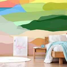 Can you tell we're really into colour? 🙈 You can feel the uplifting vibes just rolling off the rainbow hills of this @ritagpatel mural Perfect for your teen's bedroom, style this bright and colourful wallpaper with a modern wooden bed and crisp white bedding, then go MAD with the colourful accessories! Pick out a blue throw and cute pink wall prints to compliment the colour scheme and create a super fun space your teen will love! 💗 #bedroomdecor #teendecor #teenbedroom