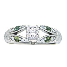 Hand-Engraved Diamond & Green Sapphire Ring from Brilliant Earth