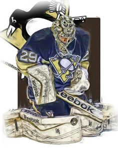 Marc Andre Fleury Print featuring the mixed media Marc Andre Fleury Pittsburgh Penguins Oil Art by Joe Hamilton