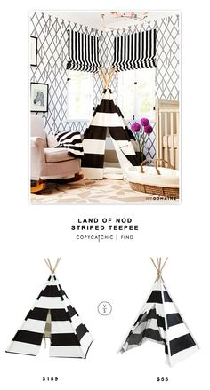 @landofnod Striped TeePee $159 vs @walmart American Kids Rugby Striped Tee-pee Tent $55 | Copy Cat Chic Look for less