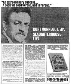 Kurt Vonnegut // The First Ads for Famous Books Vintage Advertisements, Ads, Slaughterhouse Five, First Ad, Kurt Vonnegut, Famous Books, Writers And Poets, Greek Quotes, Inspirational Books