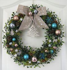 Weihnachtskranz blau Adventskranz Wandkranz Türkranz Weihnachten Kranz Kugeln
