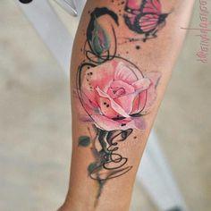 esta_florescendo_rosa_aquarela_flor_da_tatuagem