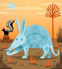 iOTA iLLUSTRATION  The Aardvark and The Skunk  by iotaillustration, $18.00