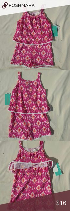 Copper Key girls rompers size M NWT pink and orange romper one piece. 100% cotton. Copper Key One Pieces Bodysuits