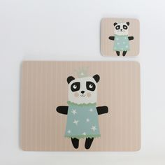 Princess Panda coaster and placemat gift set - perfect christening, birthday or Christmas present.  #Kidsinteriors #children'stableware #kidsbirthdaypresentidea #christeningpresentideas #kidstablewares #scandidesigns #pandadesign #christmaspresentidea