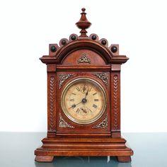 Junghans Unique Castle Shaped Top Piece Antique German Alarm Shelf Mantel Clock