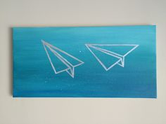 Two paper airplanes flying  acrylic on canvas taylor swift