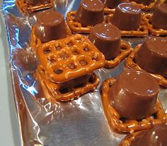 QUICK 'n' EASY TREAT~  Melt Rolo candies between two waffle pretzels and eat.  Delicious!