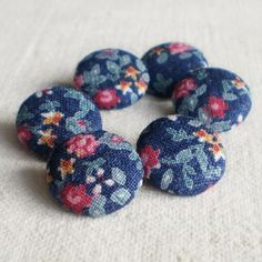 Fabric Buttons  Flowers of Night  6 Small Blue by PatchworkMill, $3.50