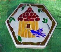 birdhouse mosaic stone