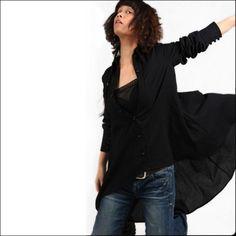 Langarmblusen - Der Drachen 1 - asymmetrische Leinenhemd Y1002 - ein Designerstück von idea2lifestyle bei DaWanda