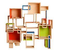 Modular Geometric Shelving Unit// Custom Design// Contemporary Modern Bookshelf on Etsy, $1,550.00