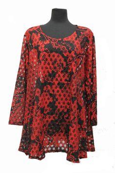 Transparente Germany Plus Size Sheer Lace Paisley Tunic Blouse Prints Black Red | eBay