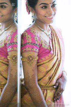 South Indian bride. Diamond Indian bridal jewelry.Temple jewelry. Jhumkis.Beige silk kanchipuram sari with contrast pink blouse.braid with fresh jasmine flowers. Tamil bride. Telugu bride. Kannada bride. Hindu bride. Malayalee bride.Kerala bride.South Indian wedding.