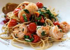 Spaghetti With Chile Shrimp & Tomatoes From Italian Food Forever.