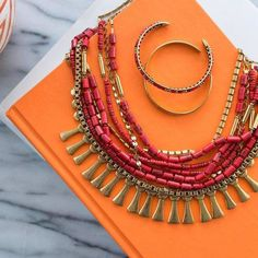 This Statement Piece Takes Versatility To The Next Level - Meet The Bliss. You Can Wear This Coral #Beauty 3 Ways: Beaded, As A Standalone Gold Vintage #Necklace or As A Full.