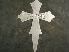 Metal Thyme Cross Garden Marker