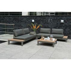 4 Seasons Outdoor Fidji 3-delig loungeset - Teak- Aluminium Teakhout