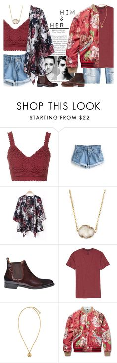 """""""Him&Her - contest"""" by mysecretismine ❤ liked on Polyvore featuring Topshop, Trowbridge, WithChic, Jules Smith, Era Colorphilosophy, H&M, Volcom, Versace, Gucci and Wolverine"""