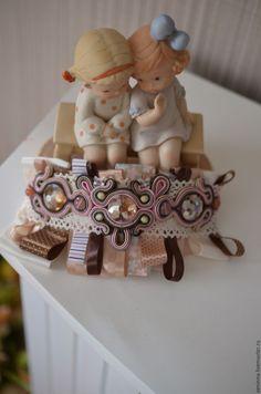 """Купить Сутажный браслет с лентами """"Зефирка"""" - комбинированный, браслет, сутажная техника, сутажные украшения"""
