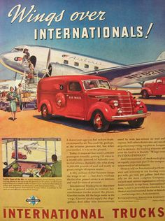 1939 International Trucks Ad ~ Air Mail Truck