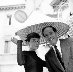 Rare Audrey Hepburn — Audrey Hepburn and Mel Ferrer in Rome, May 1955.