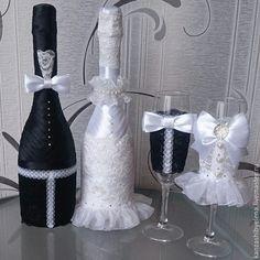 Купить Комплект Черно-белая классика жанра - черно-белый, бутылки, Бокалы, комплект на свадьбу