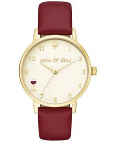 kate spade new york Women's Metro Merlot Leather Strap Watch 34mm KSW1188