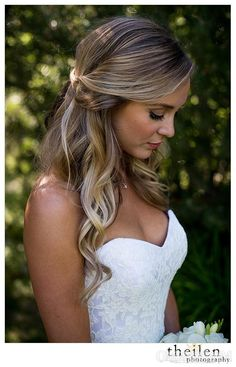 Sweetheart Mermaid Low Back Long Lace Wedding Dress with Beading – Ombreprom Wedding Curls, Half Up Wedding Hair, Wedding Hairstyles Half Up Half Down, Long Hair Wedding Styles, Wedding Hairstyles For Long Hair, Lace Wedding, Long Hair Styles, Messy Half Up Half Down Hair, Hairstyles For Long Dresses