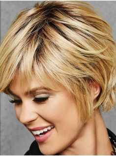 The Textured Fringe Bob by Hairdo is a full, side sweeping fringe and chin-length layered sides with a beautiful blend of textured layers at the nape for a no-fuss, new silhouette. Medium Hair Cuts, Short Hair Cuts, Short Hair Styles, Short Shag Hairstyles, Lob Hairstyle, Short Hair With Layers, Synthetic Wigs, Great Hair, Hair Today