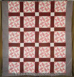 "Beautiful ANTIQUE c1870 Pierced Stars Brown & Pink Stars QUILT 86"" x 82"" | eBay"