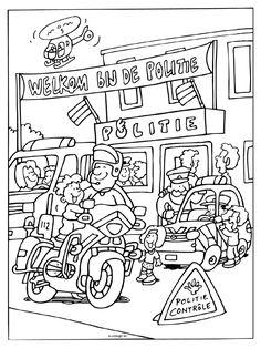 Kleurplaat Welkom bij de politie ( open dag ) - Kleurplaten.nl Cops And Robbers, Diy Tent, Kids Tents, Preschool Lessons, 5 Year Olds, Childrens Party, Coloring Books, Ambulance, Corner