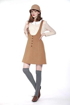Perthshire Dungarees (Camel) - Miss Patina - Vintage Inspired Fashion