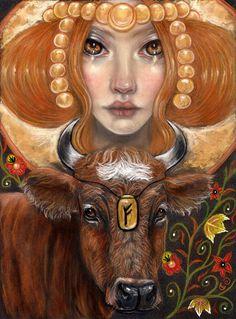 Fehu Rune Maiden Norse Cow Pagan fine art print by MoonSpiralart