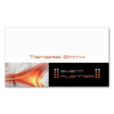 Black White And Orange Stripes Event Planner Business Card