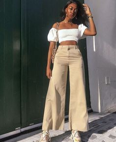 #neutrals wide long trousers white cropped top