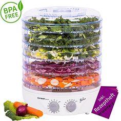Essiccatore con timer fino a 12 ore e termostato regolabile tra 35 e 70° Celsius | 5 ripiani | BPA free| Ricettario incluso | Essiccatore per frutta Disidratatore con timer |