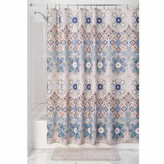 This polyester shower curtain from InterDesign is stylish, fun and machine washable, blending convenience with style. The clover medallion design offers a contemporary design element to any bathroom. Dorm Bathroom, Turkish Tiles, Colorful Curtains, Decorative Tile, Kitchen Curtains, Fabric Shower Curtains, Mold And Mildew, My Room, Dorm Room